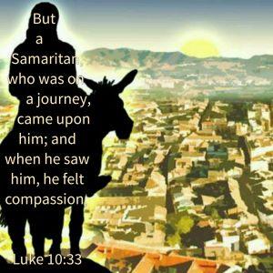 Triumphal entry of the Good Samaritan