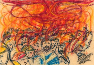 Acts 2:1-4. When the day of Pentecost came. Pastel & pen. 26 May 2012.